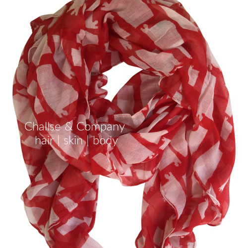 Alabama state shape Scarf (red and white)