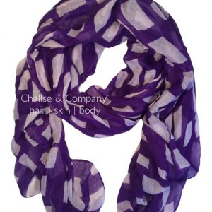Kansas state shape Scarf (purple and white)