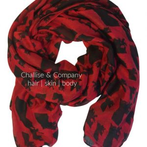 Louisiana state shape Scarf (red and black)