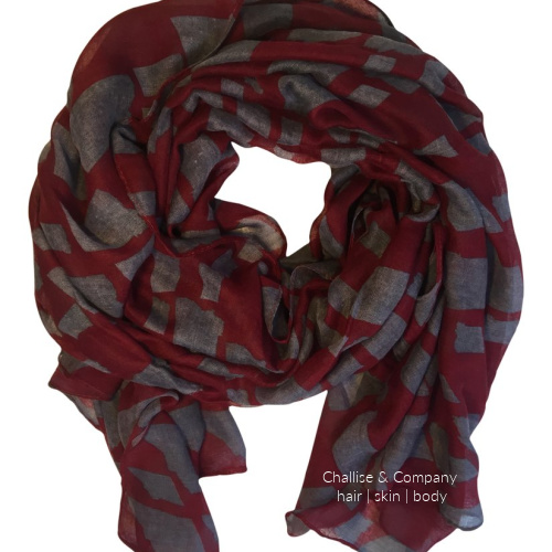 Montana State shapes Scarf (maroon and gray)
