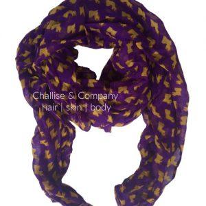 Louisiana state shape Scarf (purple and gold)