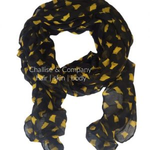 Missouri state shape Scarf (black and gold)